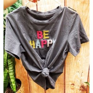 Be happy embroidered rainbow tee ✨